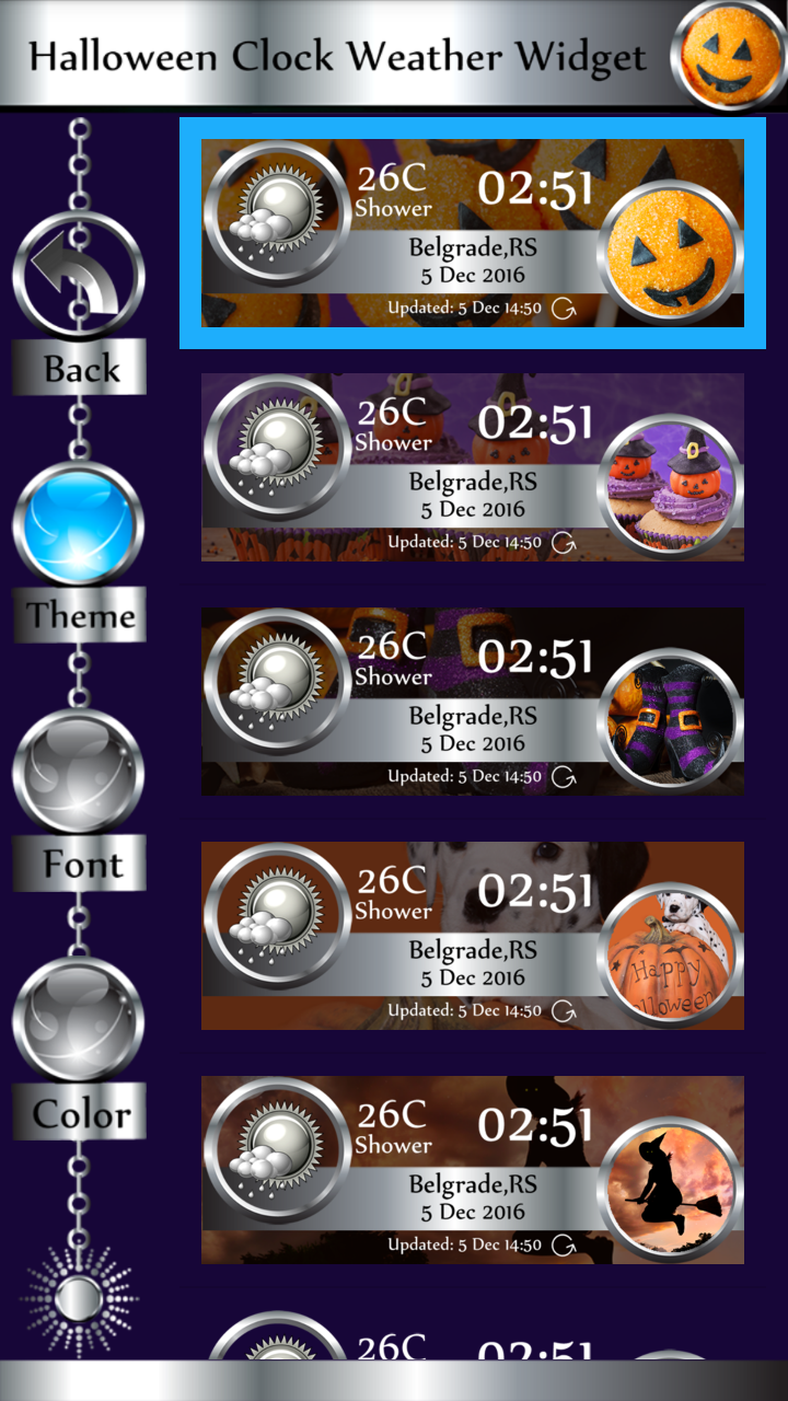 Halloween Clock Weather Widget