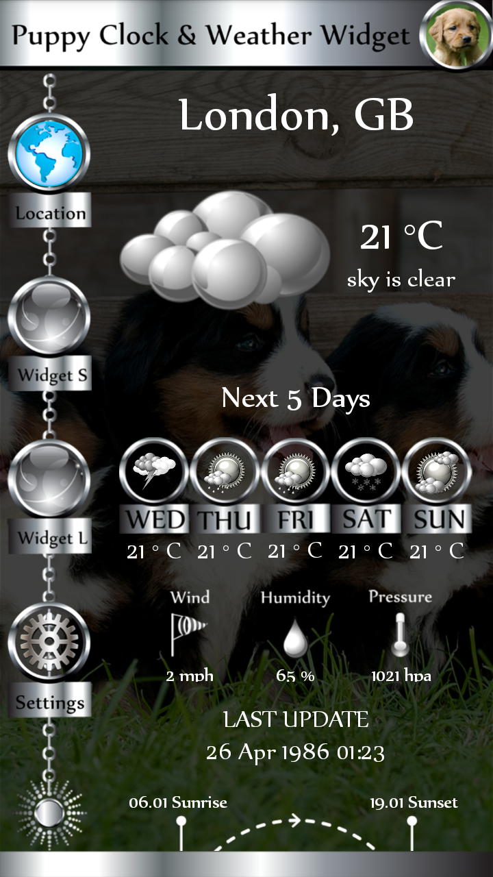 Puppy Clock & Weather Widget