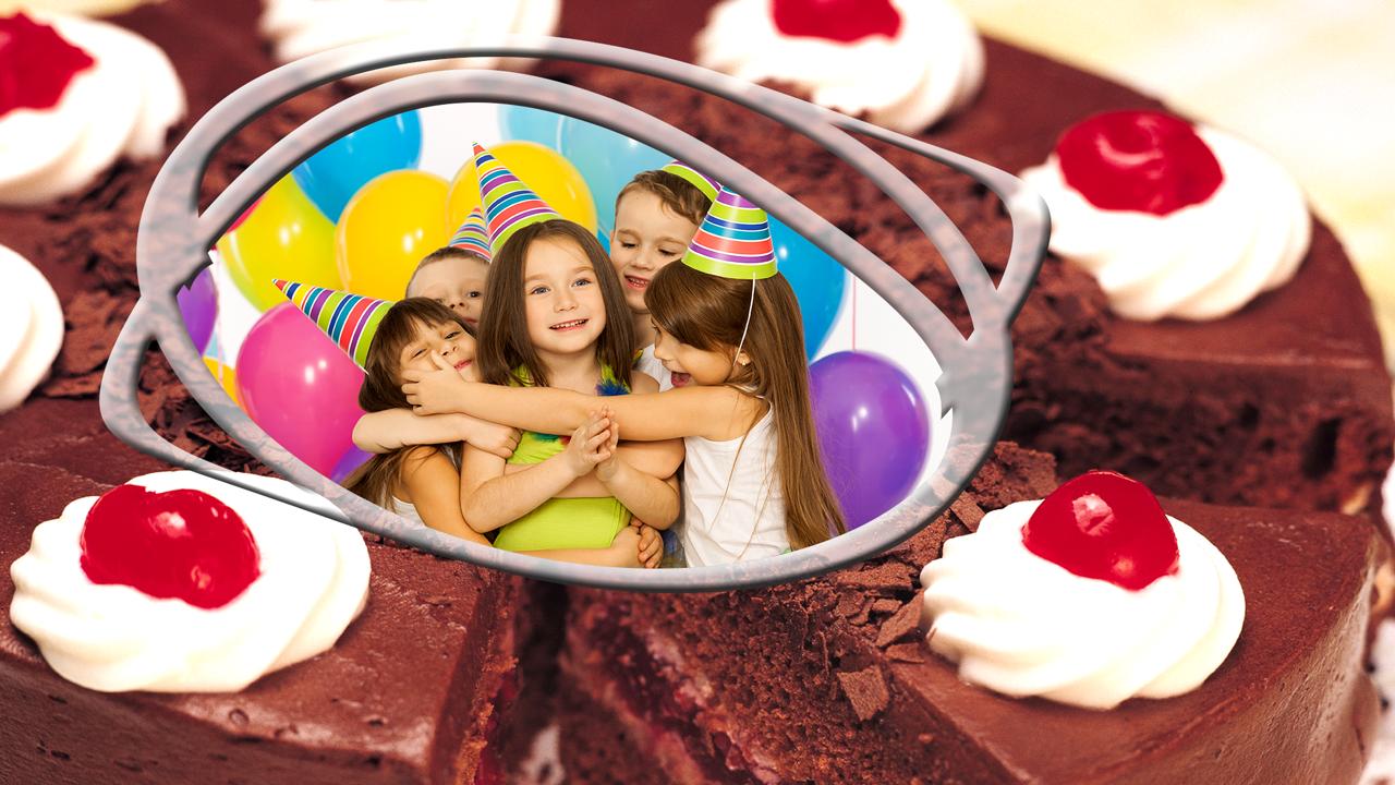 Photo Frame On Birthday Cake