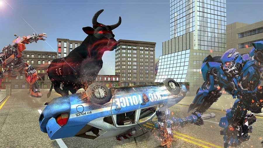 Angry Robot Bull Fighting : Transform Robot Games