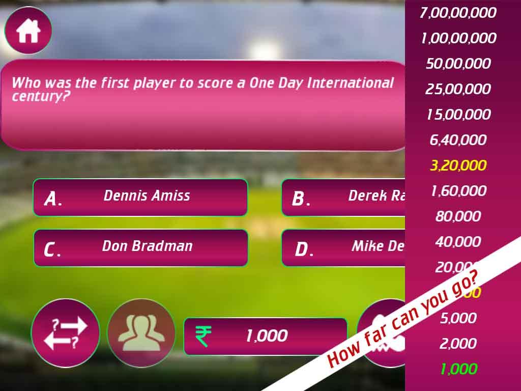 Crorepati Cricket Trivia Quiz