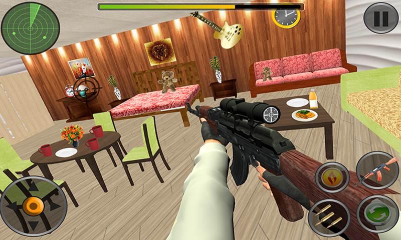 House Interior Destruction Shooting Sim