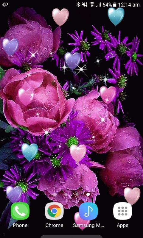 Flowers Hearts Live Wallpaper