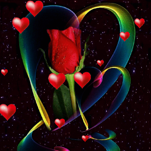 Hearts Red Rose LWP