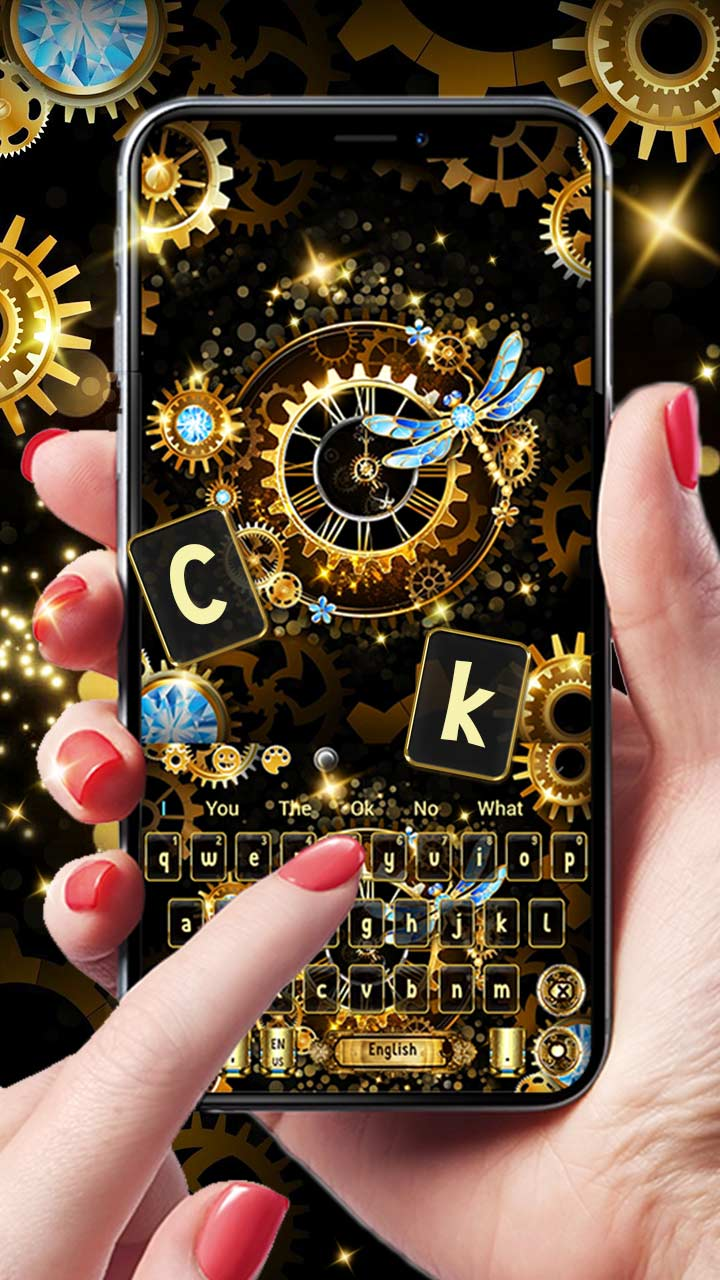 Black Gold Luxury Clock Keyboard