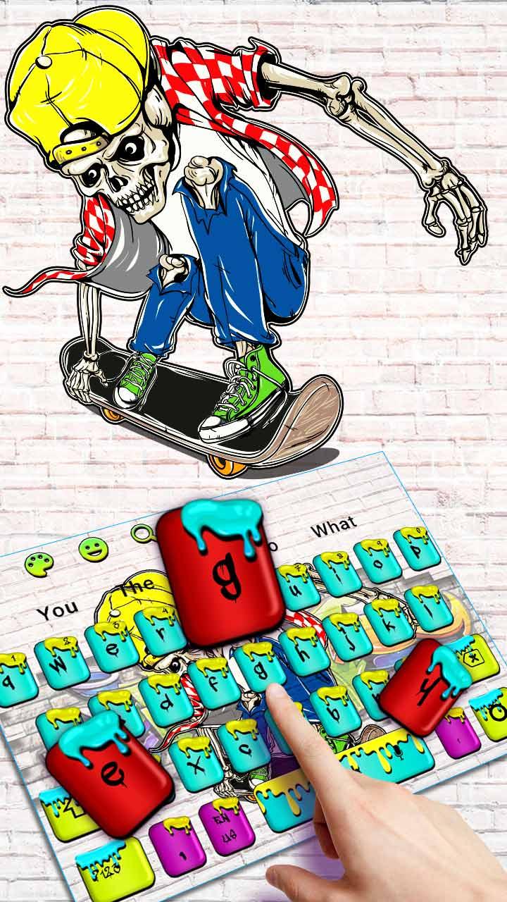 Graffiti Skull Skateboard Keyboard Theme