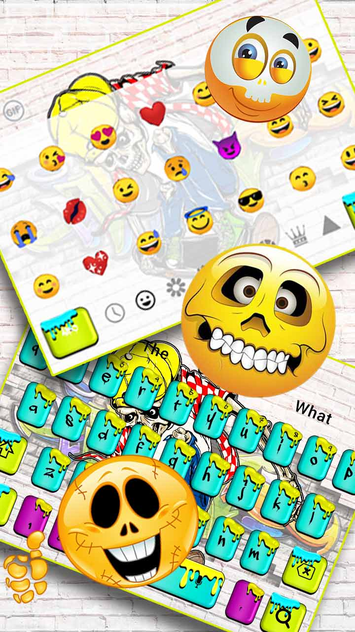 Graffiti Skull Skateboard Keyboard Theme