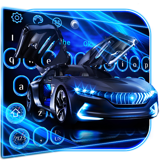 Neon Blue Sports Car Keyboard Theme