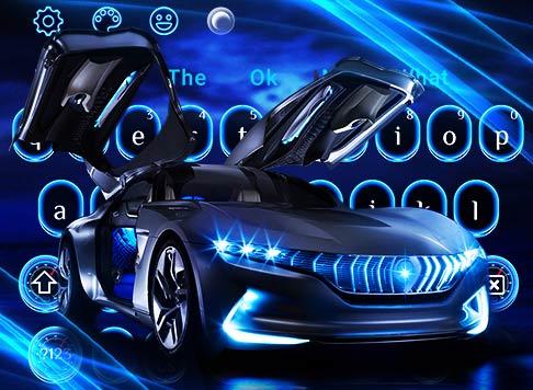 Neon Blue Sports Car Keyboard Theme