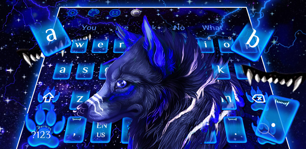 Neon Galaxy Wolf Keyboard Theme