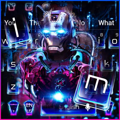 Neon Iron Hero Robot Keyboard Theme