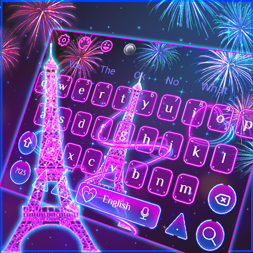 Neon Paris Eiffel Tower Keyboard Theme
