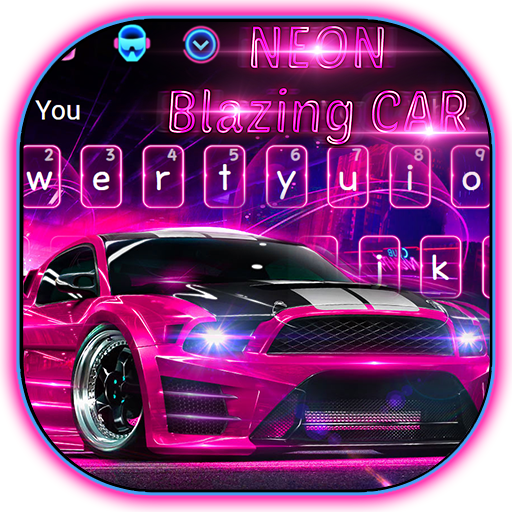 Neon Pink Blazing Car Keyboard Theme