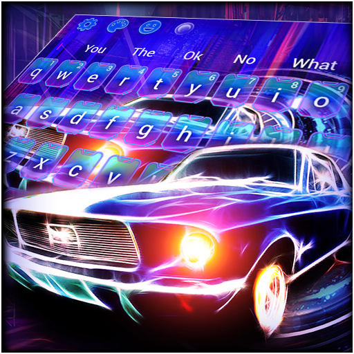 Neon Racing Car Keyboard Theme