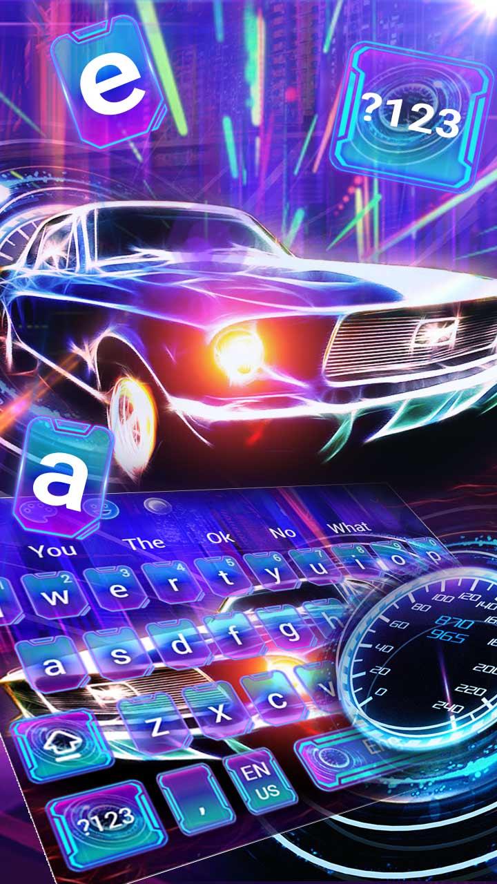 Neon Racing Car Keyboard Theme