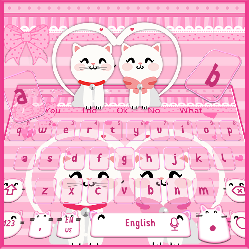 Pink Cute Kitty Cat Keyboard