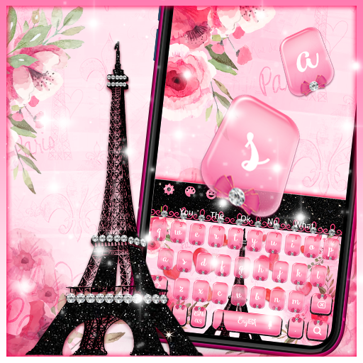 Pink Paris Eiffel Tower Keyboard