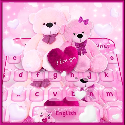 Pink Sparkling Teddy Bear Keyboard