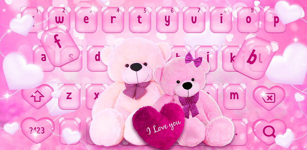 Pink Sparkling Teddy Bear Keyboard