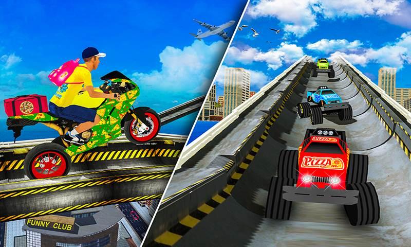 Pizza Delivery: Mega Ramp Rider Crash Stunts