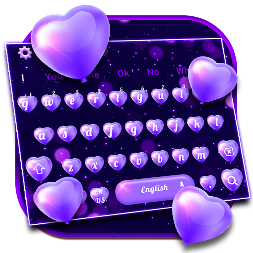 Purple Love Heart Balloon Keyboard Theme