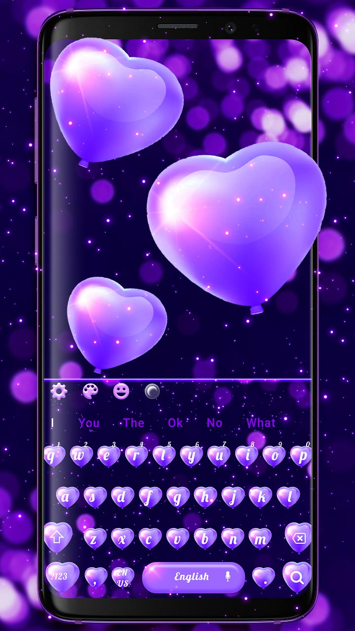 Purple Love Heart Balloon Keyboard Theme