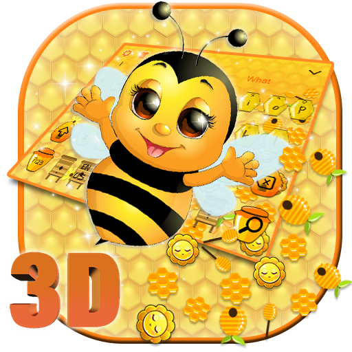 3D Cute Honey Bee Gravity Keyboard Theme