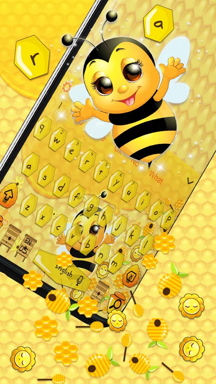 3D Cute Honey Bee Gravity Keyboard Theme