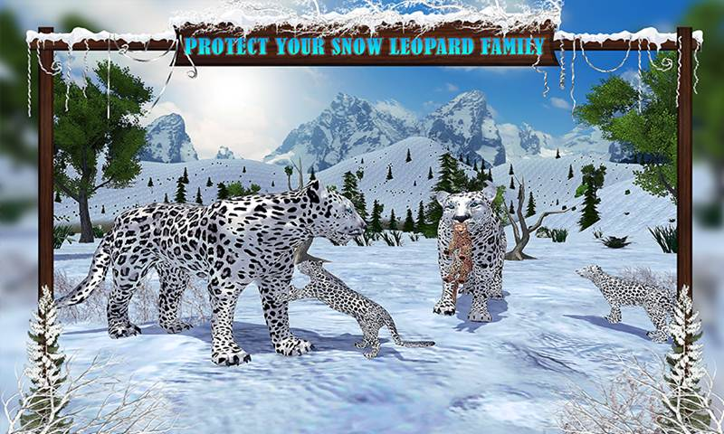 Arctic Leopard Family Snow Forest Sim
