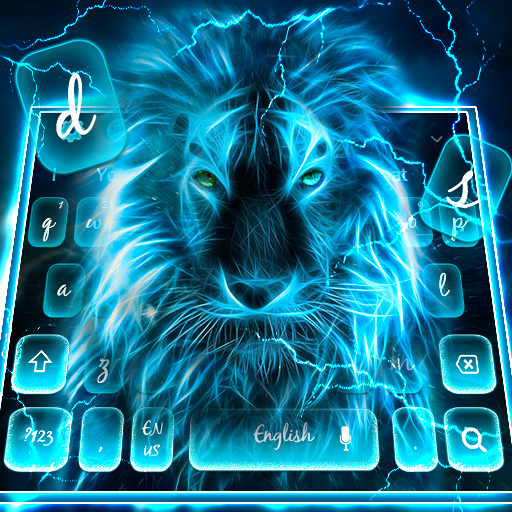 Blue Roaring Lion Keyboard Theme