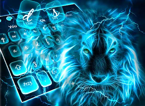 Blue Roaring Lion Keyboard Theme