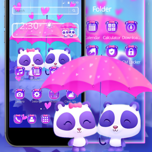 Cute Pink Couple Panda Theme
