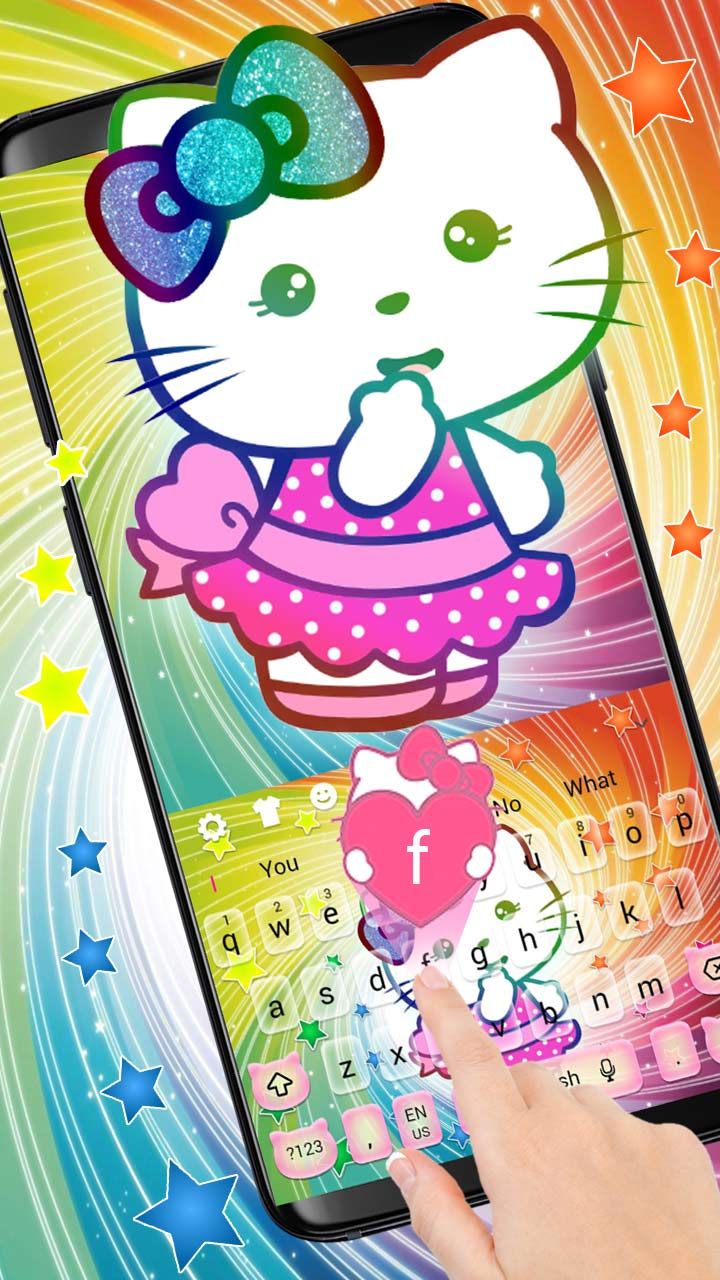 Cute Rainbow Colorful Kitten Keyboard Theme