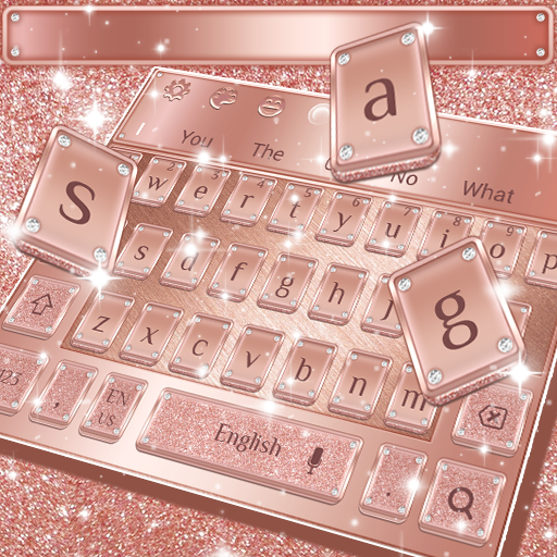 Glossy Rose Gold Keyboard Theme