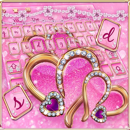 Sparkling Pink Love Heart Keyboard