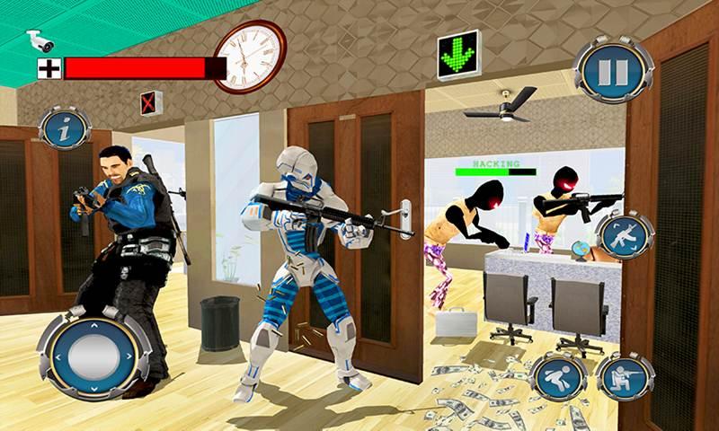 US Police Robot Bank Robbery City Crime