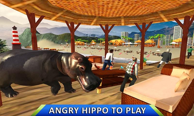 Wild Hippo Beach Attack Jungle Simulator