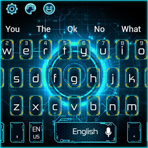 3D Blue Futuristic Science Technology Keyboard