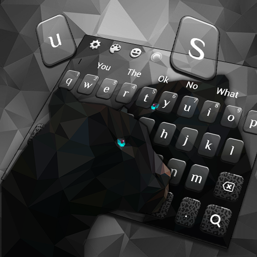 Black Polygon Panther Keyboard Theme