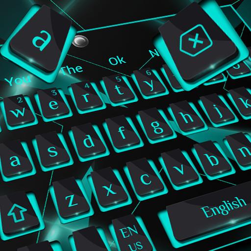 Classic Black Blue Metal Keyboard