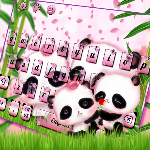 Cute Couple Panda Keyboard Theme