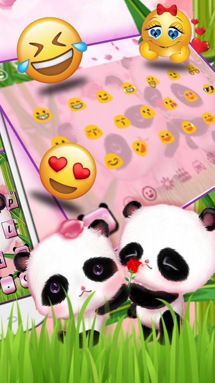 Cute Couple Panda Keyboard Theme