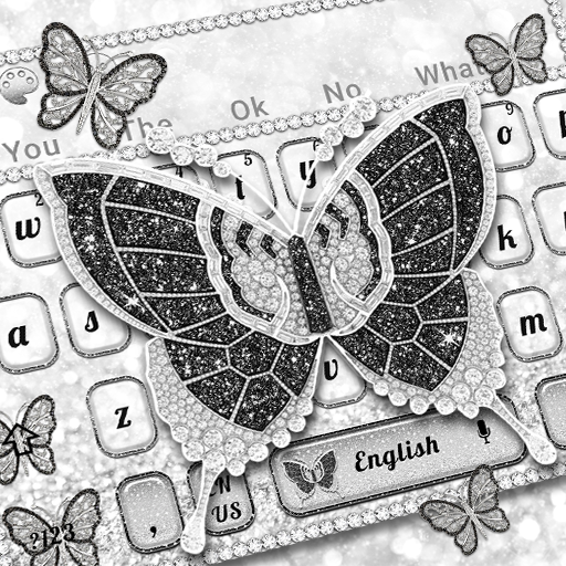 Cute Glitter Black Butterfly Keyboard