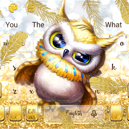 Cute Golden Glitter Owl Keyboard