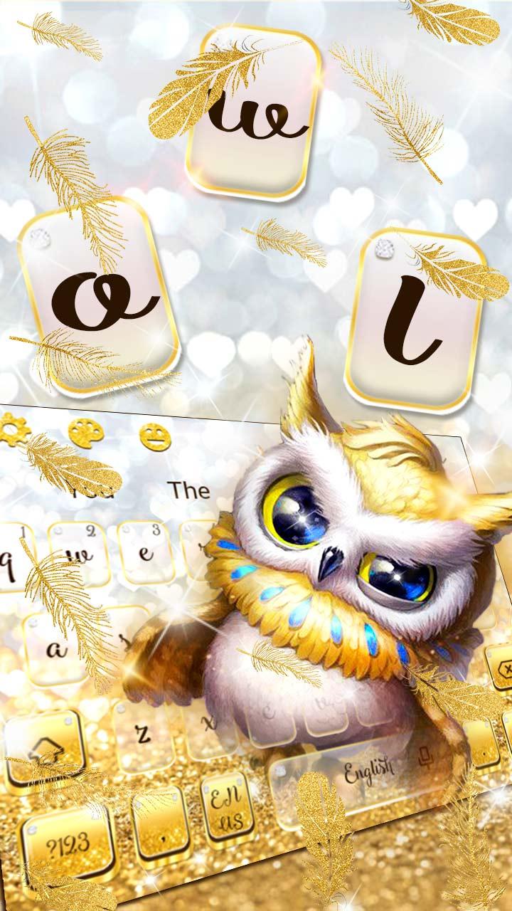 Cute Golden Glitter Owl Keyboard