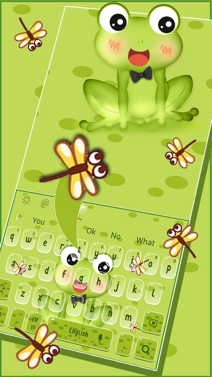 Cute Green Frog Anime Keyboard Theme