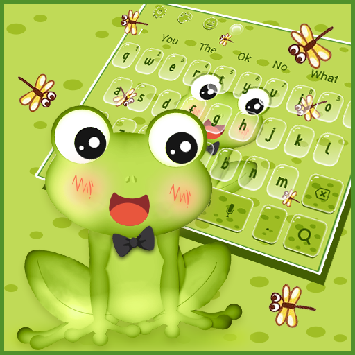 Cute Green Frog Anime Keyboard Theme