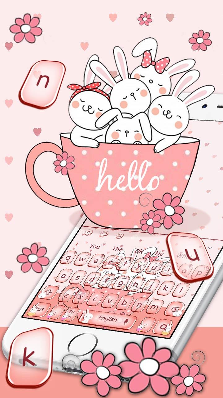 Cute Pink Anime Bunny Keyboard