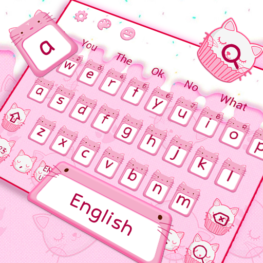 Cute Pink Cat Cupcake Keyboard Theme