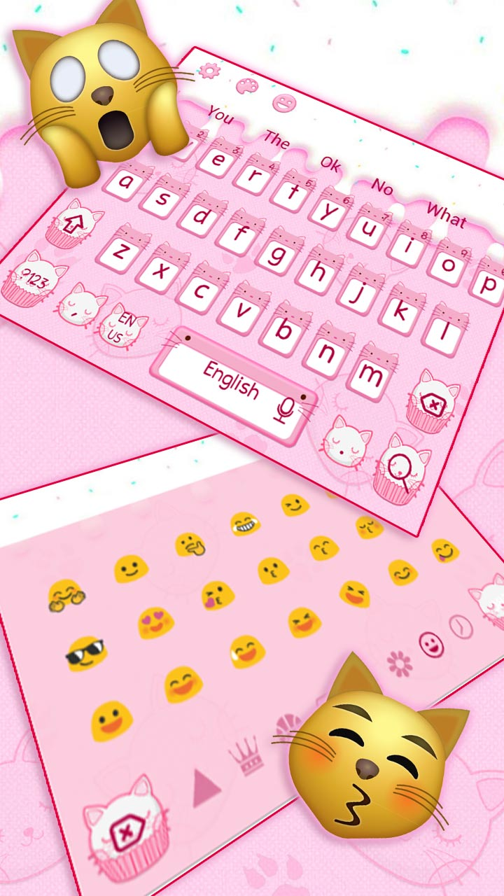 Cute Pink Cat Cupcake Keyboard Theme